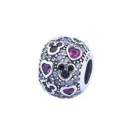Vermelho autêntico on-line-2017 Nova Espumante Mic-chave Corações Charme Beads Serve Pulseiras Pandora Authentic 925 Sterling Silver Red Black Pave CZ Charme Jóias DIY HB266