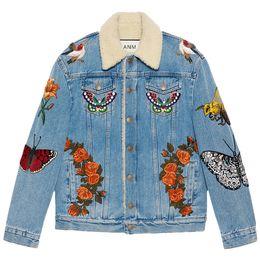 Wholesale Denim Jacket Puff - Autumn Of 2016 Long Sleeved Denim Jacket Embroidered Velvet Female Clip