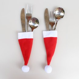 Wholesale fork caps - Wholesale- 10pcs Santa Hat Christmas Knife Spoon Fork Bags Tableware Silverware Holder Xmas Mini Bottle Cap Wine Bottle Decorated Christmas