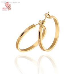 Wholesale Earrings Hoop 18kgp - Wholesale-KUNIU 2015 New Pipular Classic 18KGP Big Circle 31mm Hoop Earrings For Women High Quality Fashion Gold Rose Gold Silver Earrings