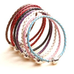 Wholesale Diy Resin Bracelets - 20CM Authentic 925 Sterling Silver Clasp Bead Original Stamp Woven Leather Bracelet Fits Pandora Charms Bracelet DIY Fashion Jewelry
