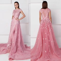 Wholesale Detachable Trains For Dresses - 2017 Saiid Kobeisy Prom Dresses With Detachable Train Bateau Neckline Appliqued Pageant Gowns Mermaid Tulle Events Dress For Party With Sash