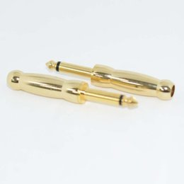 Wholesale Pedal Connectors - New10PCS Gold-plated RCA female Jack to 6.3 male Plug straight Mono plug audio connector For Guitar pedal  Audio Electric Guitar