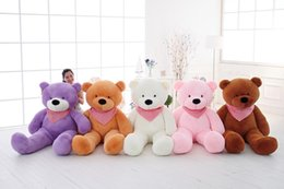 Wholesale Collectible Teddy Bears - Teddy Bears Plush Stuffed Girl Toys Soft Baby Cartoon Dolls 2016 New Stuffed Toys Cute 80cm 100CM 120CM 140CM 160CM Christmas Holiday Gifts