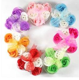 Sabão rosa pétala casamento favores on-line-20 caixa de sabão em forma de coração 6 em 1 caixa em forma de coração artesanal pétalas de rosa favores do casamento presente do dia dos namorados