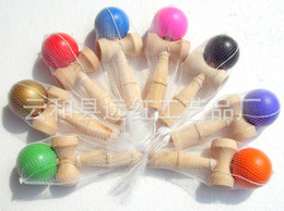 Wholesale Traditional Japanese Children Toys - 8 color New Big size 18*6cm Kendama Ball Japanese Traditional Wood Game Toy Education Gift Children toys DHL Fedex Free shipping