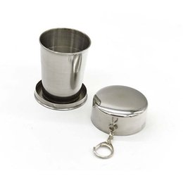 Wholesale Stainless Steel Retractable Keychain - 75 140ML Stainless Steel Mini Retractable Travel Cup Folding Collapsible Drinking Cup Keychain Outdoor Fold Water Bottle Cups 250181