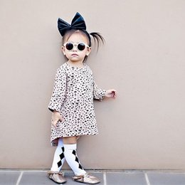 Wholesale New Fashion Half Skirts - Leopard Half Sleeve Casual Dress INS Popular Kid Clothes 2016 Autumn Winter New Girls Baby Tutu Asymmetrical Skirt Fashion Loose Vintage
