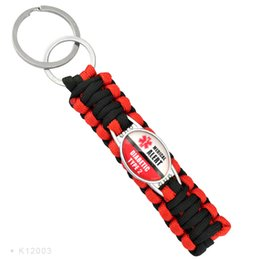Wholesale Red Paracord - (10 PCS lot) Medical Alert Diabetic Type1 2 Paracord key Chain For Women Outdoor Survival Gifts Fashion Accessories