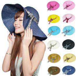 Wholesale Big Sun Hats For Women - New Big Brim Beach Hat Sun Straw Hat Cap for Women Pierced Summer Caps Foldable 17 Colors Available 20pcs lot
