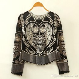 Wholesale Batwing Dolman Sleeve - 2017 New Women's Chiffon Blouses Shirts Lace owl Embroidery pattern shirt loose O neck Animal Embroidery Fashion Long sleeves drop ship