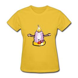 Menina, amarela, camisa, desenho on-line-T-shirt de impressão de vela rosa perto da pele meninas sexy-de mangas curtas tshirts clássico O-pescoço design amarelo roupas para mulheres