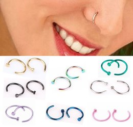 Wholesale Silver Nose Hoops - Jewelry Stainless Steel Nose Open Hoop Ring Earring Body Piercing Studs