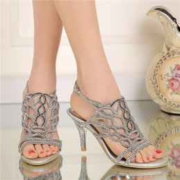 Wholesale Sandals Black Party High Heel - 2016 Fashion Summer Sandals with Rhinestone Gorgeous Wedding Party High Heels Plus Size 34-44 Black Gold Silver Color Available