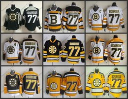 Wholesale Boston Grey - Top Quality Mens Boston Bruins Jerseys #77 Ray Bourque CCM Vintage Ice Hockey Jersey,Size M-XXXL,Embroidery Logo Can Mix Order