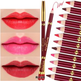 Wholesale Sexy Pen - New Sexy Waterproof Lip Pencil Pen Lipstick Long Lasting Makeup Matte Gloss Lasting 24 Hours Eyeliner Pen Beauty Tools 12 Different Colors