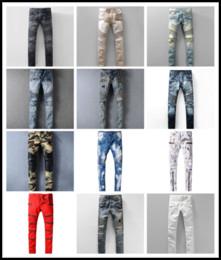 Wholesale Designer Jeans Trousers - New France Pierre Ripped Jeans Men Runway Biker Skinny Slim Denim Trousers Cowboy Famous Brand Zipper Designer Hot Sale Mens Designer Jeans