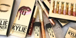 Wholesale Different Coloured Lipsticks - New Arrived !Kylie Cosmetics Limited LORD Gold Birthday Edition Metal Lipstick 6 Different Colour lip golss