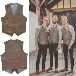 Wholesale Mens Brown V Neck Vest - 2017 New V Neck brown Mens Wedding Vests Outerwear Groomsman Vest Realtree Spring Camouflage Slim Fit Mens Wedding Party Dinner Vests
