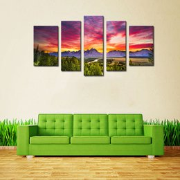 Wholesale Modern Oil Painting Green - 5 Picture Combination Wall Art Painting Beautiful green hills at dusk Red sky Prints On Canvas Oil For Home Modern Decoration