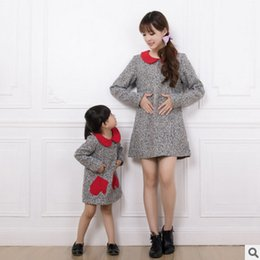 Wholesale Dolls Clothes Line - Mother and dauther dresses fashion girls doll collar woolen princess dress womens red pocket A-line dress autumn new family clothing R0022