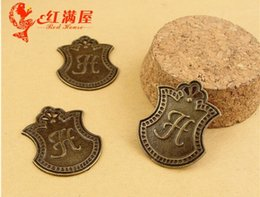Wholesale English Alphabet Letters - A1076 30*23MM Antique Bronze Retro plate - English alphabet letter charms, H manual DIY jewelry ZAKKA accessories, metal letters beads