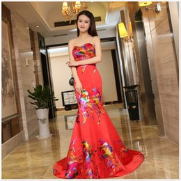 Wholesale Cheap Chinese Dressing Gowns - Chinese Fashion Red Mermaid Evening Gowns In Stock Cheap 2016 Sweep Train Print Pattern Luxury Women Formal Occasion Dresses Under 100