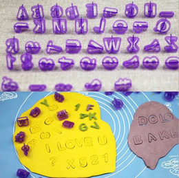 Wholesale Letter Biscuit - 40pcs Alphabet Letter Number Fondant Cake Biscuit Baking Mould Cookie Cutters