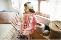 2019 jupes lolita douces 2 couleurs bébé filles fleur décolleté robe princesse volants de coton robes de fête de printemps automne Sweet Lady jupe jupes lolita douces pas cher