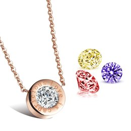 Wholesale Change Slide - Wholesale jewelry Lady Rose Gold Pendant Necklace personality small change Necklace Chain N975 clavicle