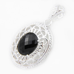 Wholesale Silver 925 Onyx Pendant - Half Dozen New Arrive Oval Natural Fire Black Onyx Gems 925 Sterling Silver Pendants Necklace USA Israel Wedding Engagement Weddings Jewelry