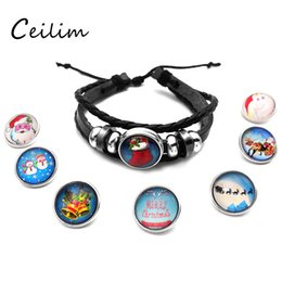 Wholesale Kids Silver Jewelry Sets - Newest braided adjustable leather snap button bracelets fashion jewelry leather bracelet for men women kid as christmas gift 2017