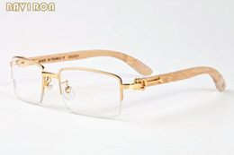 Wholesale Frame Out Mirror - with box 2017 luxury brand sunglasses for men buffalo horn Glasses semi rimless sunglasses Hollow Out Metal wood Frame
