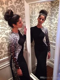 Wholesale Sexy Long Jersey Dresses - Black Jersey New Sexy Long Sleeves Mermaid Evening Dresses 2017 Beaded Crystals Floor Length Formal Party Dress Celebrity Prom Gowns