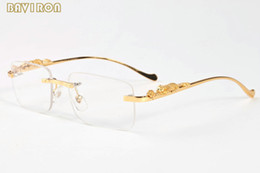 Wholesale Leopard Wraps - with box 2017 brand designer sunglasses for men vintage buffalo horn glasses gold silver leopard frame women rimless sunglasses