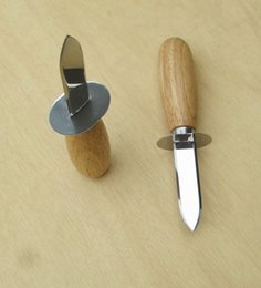 Wholesale Glass Knifes - Sales glass hard stainless steel oyster shell knife altitude hard wooden handle oyster knife mirror plate open shell knife