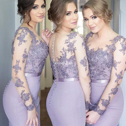 Wholesale Lace Back Covered Formal Dress - Lilac Illusion Long Sleeve Bridesmaid Dresses Mermaid Satin Covered Button Back Plus Size 2016 Lace Formal Evening Gowns Maid of Honor Dress