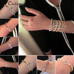 billige kreuze für armbänder Rabatt Günstige Schmuck Gold Silber 6mm Perlen Kreuz Armbänder für Frauen niedlich voller Kristall Unendlichkeit Charme einstellbar Großhandel Großhändler