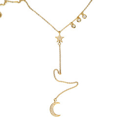 Wholesale lariat necklace gold - 2017 factory fine 925 sterling silver 18k gold plated micro pave clear cubic zirconia cz lariat y moon star necklace