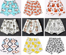 Wholesale Harem Pants Unisex - 2016 New Baby toddler boys girls ins pants Leggings Bee Panda Zoo embroidered Sabrina pant Cropped Trousers boys Harem Short Shorts