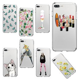Wholesale Wholesale Chinese Cabinets - Cute Cat Flamingo Butterfly Flower Lipstick Soft Clear Cabinet Shell for iPhone 7 7Plus 6 6S 6Plus 5 8 8Plus X Samsung