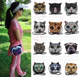 Wholesale Cat Head Handbag - 3D Cat Face Pouch Bag Cartoon Cat Messenger Bag fashion 3D print animal face Handbag for women Crossbody Bag with dog head 3D cat bags D534