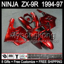 Wholesale Zx9r 1994 Customized - 8Gifts+Body For KAWASAKI NINJA ZX-9R ALL Dark red 1994 1995 1996 1997 Y1597 ZX9R ZX 9R 9 R Gloss red 94-97 94 95 96 97 Customize Fairing