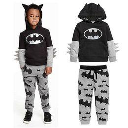 Wholesale Baby Batman Hoodie - 2pcs Baby Boy Cartoon Batman Tops T-shirt Hoodies+Pants Outfits Clothes 2-7Y