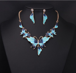 Wholesale Pink Necklace Lobster Clasp - Chic jewelry set alloy resin butterly necklace earrings sets fo party and wedding