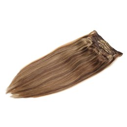 "Wholesale Clip Hair Extensions Highlights - 18"" 20"" 22"" 100g Indidan Full Head Clip in Extension #4 27 Caramel Blonde Highlighted Mixed Color Human Hair"