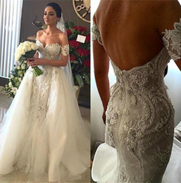 Wholesale Wedding Tulle Overskirt - Sexy Lace Wedding Dresses With Removable Tulle Overskirt Mermaid Backless Off The Shoulder Bridal Gowns Long Train