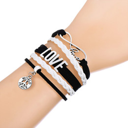 Wholesale Best Connect - Multi-layer Braided Bracelets LOVE Connect With WORLD PEACE Logo Charm White & Pink Leathert Adjustable Bracelet Best Gift For Men&Women