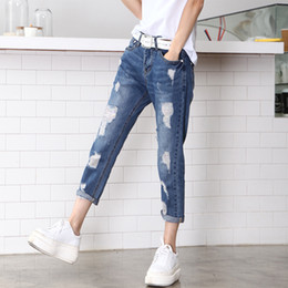Wholesale Wholesale Female Jeggings - Wholesale- 2017 Summer style hole ripped jeans Women jeggings cool denim mid waist pants capris Female skinny casual Ankle-Length jeans
