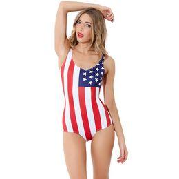 Wholesale Girls Bikinis Cheap - Summer American Flag Print Monokini Cute Women Girls One Piece Swimsuit Fashion Striped Swimwear Bathing Suit Cheap Bikini ZSJF0414